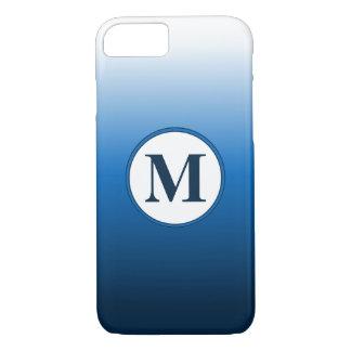 Simple Zen White Blue Ombre Gradient Monogram Case-Mate iPhone Case