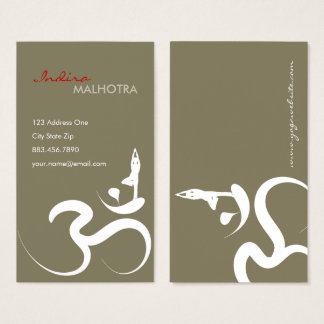 Simple Zen Yoga Om Calligraphy Silhouette Symbol Business Card