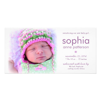 Simplicity Baby Girl Photo Birth Announcement Card