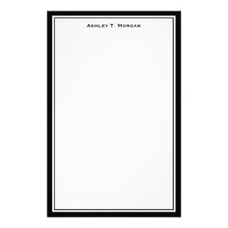 Simplicity Black White Personalized Stationery