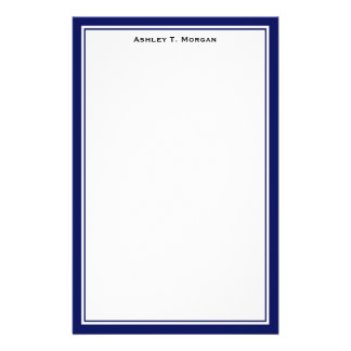Simplicity DIY Frame White Personalized Navy Stationery