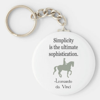 Simplicity Quote With Dressage Horse Basic Round Button Keychain