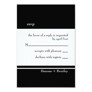 "Simplicity rsvp card-black & white 3.5"" x 5"" invitation card"