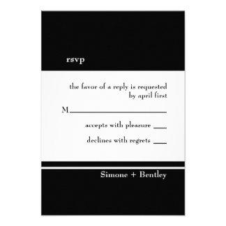 Simplicity rsvp card-black white personalized invitation