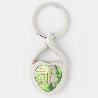 Simplicity Silver-Colored Twisted Heart Keychain