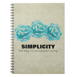Simplicity Typography Quote with Teal Roses Notebook