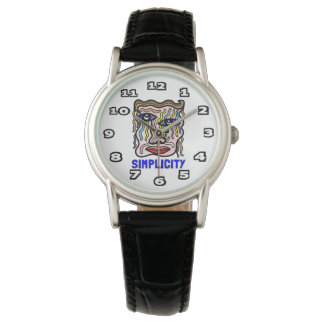 """Simplicity"" Womens Classic Black Leather Watch"