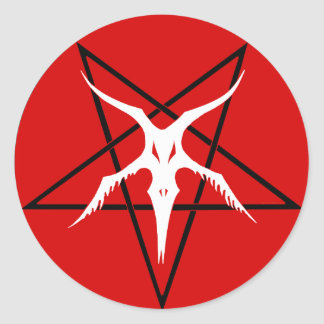 Simplified Baphomet Pentagram - Red Classic Round Sticker