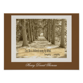 Simplify Simplify -- Thoreau quote - art print