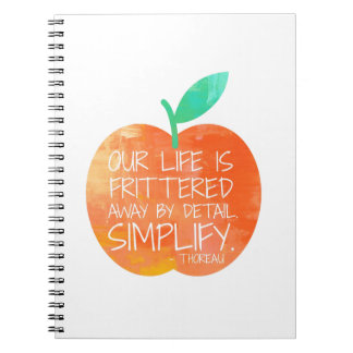 Simplify Your Life Quote Peach Notebooks