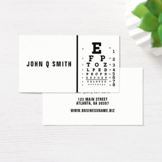 Simplistic Black White Modern Optician Business Card