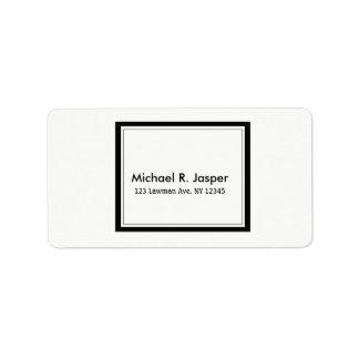 Simplistic Minimalist Black and White Label