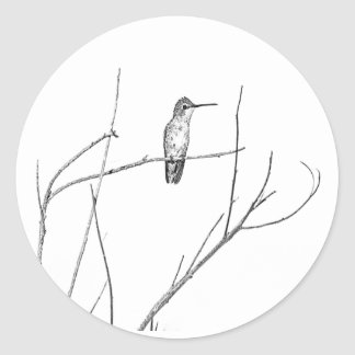 Simply a Hummingbird on a stick Classic Round Sticker