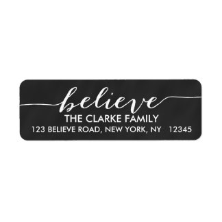 Simply Believe Chalkboard Holiday Greeting Return Address Label
