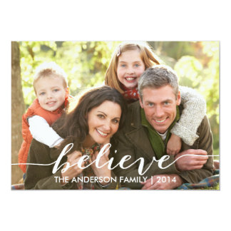 """Simply Believe Holiday Photo Card 2014 5"""" X 7"""" Invitation Card"""