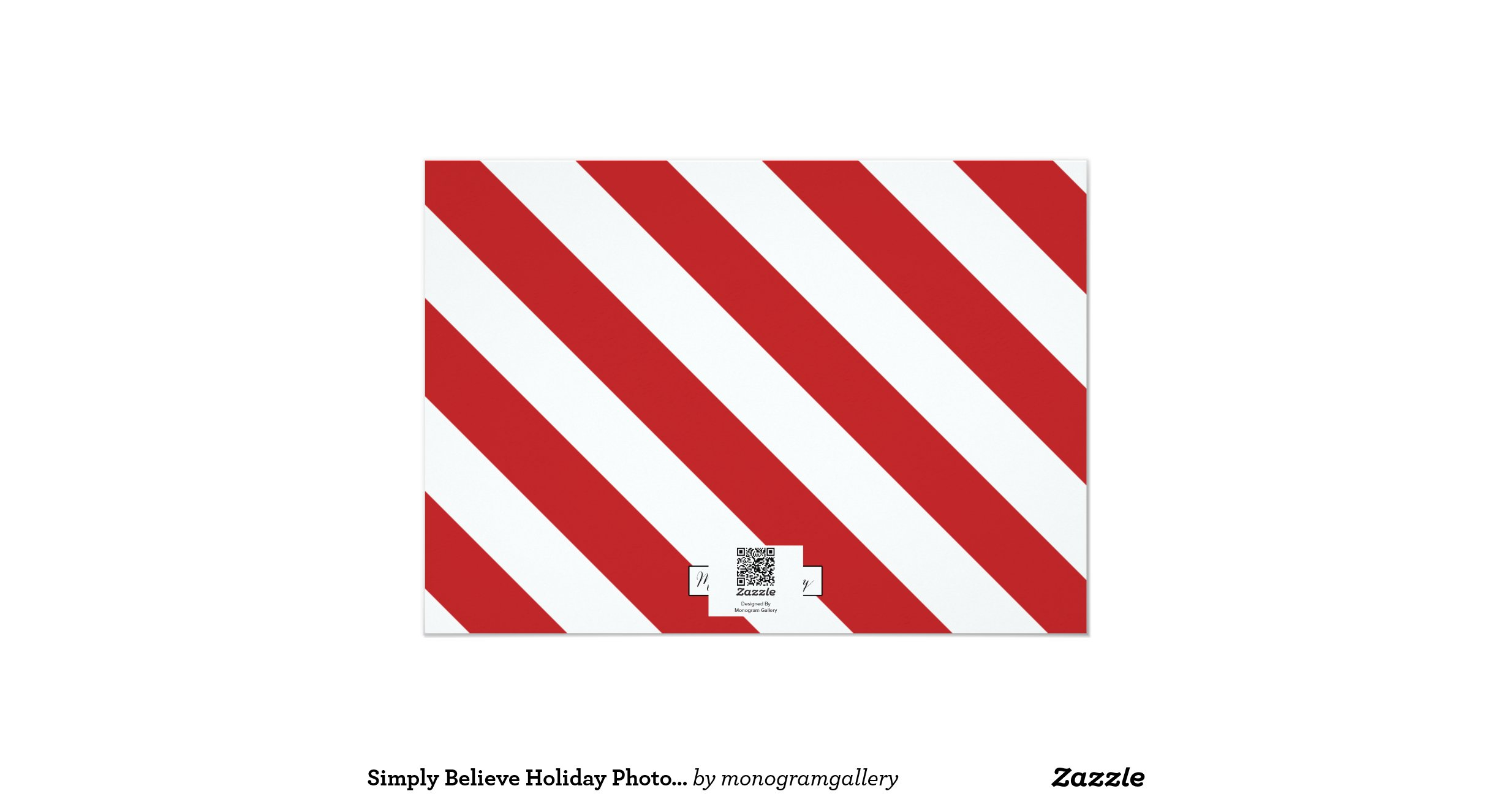Simply believe holiday photo card red 5 x 7 invitation for Home landscape design premium 17 5