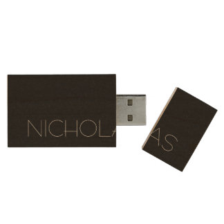 Simply Black Solid Color Customize It Wood USB 2.0 Flash Drive