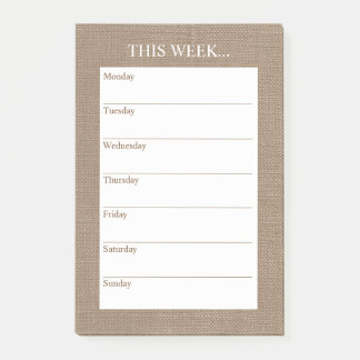 Simply Chic Weekly Planner | Rustic Burlap Post-it Notes