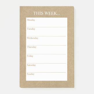 Simply Chic Weekly Planner | Rustic Kraft Post-it Notes