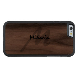Simply Custom Personalized Monogrammed Carved® Walnut iPhone 6 Bumper