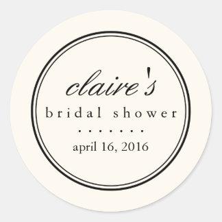 Simply Elegant Black and Cream Bridal Shower Classic Round Sticker