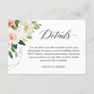 Simply Elegant Blush Pink Floral Wedding Details Enclosure Card