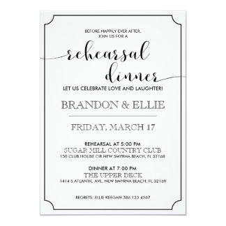 Simply Elegant Calligraphy Rehearsal Dinner Card