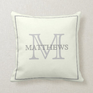 Simply Elegant Ivory Gray Custom Monogram Throw Pillow