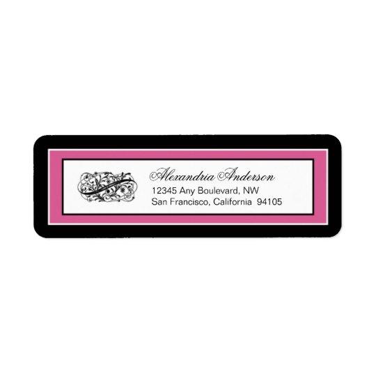 Simply Elegant Return Address Label: black/fuchsia Return Address Label