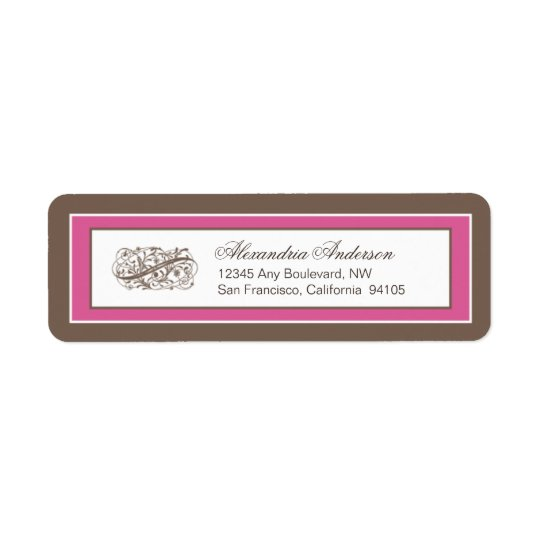 Simply Elegant Return Address Label: brown/fuchsia Return Address Label