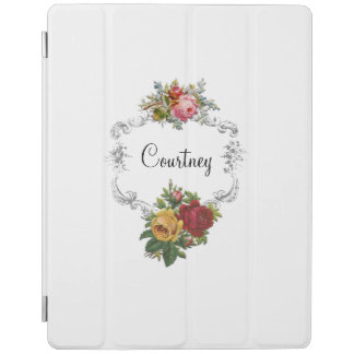 Simply Elegant Vintage Roses and Engraved Frame iPad Cover