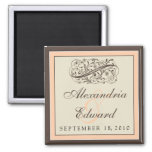 Simply Elegant Wedding Favour Magnet: peach Square Magnet