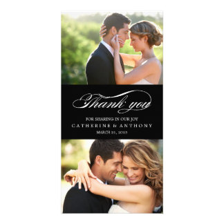 Simply Elegant Wedding Thank You - Black Custom Photo Card