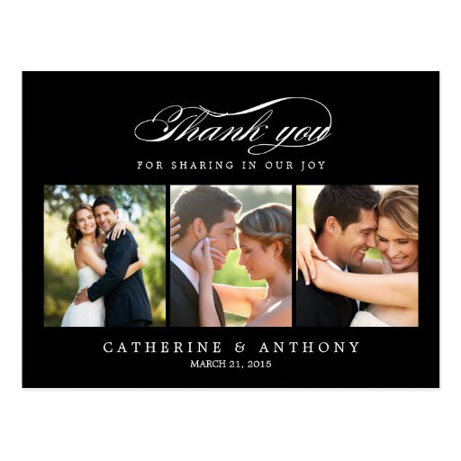 Simply Elegant Wedding Thank You Card - Black Postcards