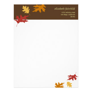 Simply fall leaves autumn brown thanksgiving theme letterhead