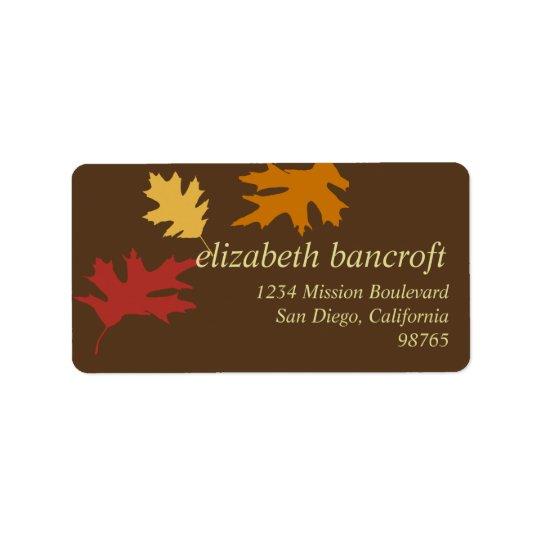 Simply fall leaves autumn custom return address label