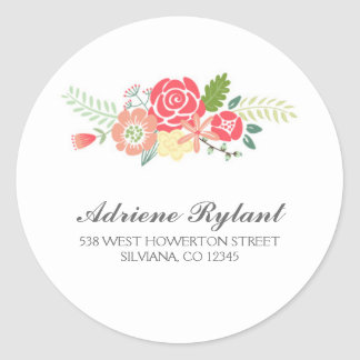 Simply Floral Circle Address Label Round Sticker