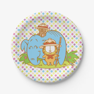 Simply Garfield and Pooky with a Blue Elephant 7 Inch Paper Plate