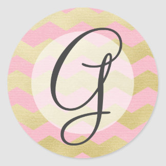 Simply Glam Pink & Gold Chevron Monogram Classic Round Sticker