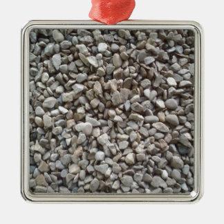 Simply Gravel Silver-Colored Square Ornament