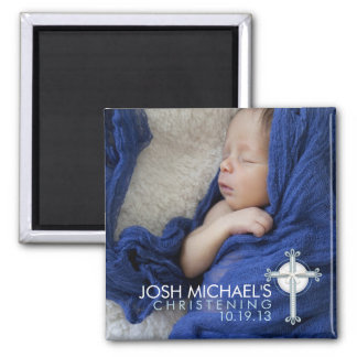 Simply Holy Cross Christening Photo Keepsake Square Magnet