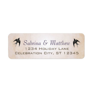 Simply Peachy Purple Heart Leaf Tree Wedding Label