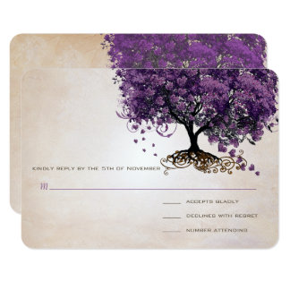 "Simply Peachy Purple Heart Leaf Tree Wedding RSVP 3.5"" X 5"" Invitation Card"