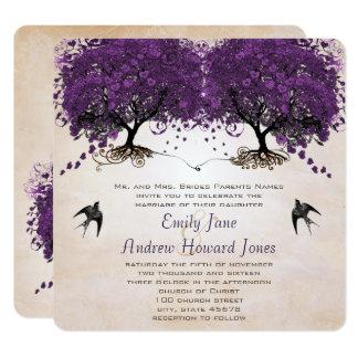 """Simply Peachy Purple Vintage Heart Leaf Tree 5.25"""" Square Invitation Card"""