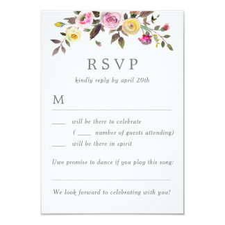 Simply Pretty Wedding RSVP Without Menu Options Card