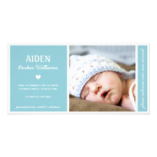 SIMPLY PURE | BABY BOY BIRTH ANNOUNCEMENT CUSTOM PHOTO CARD