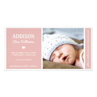 SIMPLY PURE BABY GIRL BIRTH ANNOUNCEMENT PHOTO GREETING CARD
