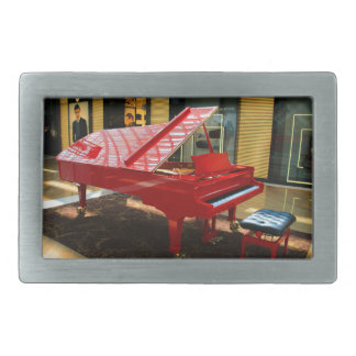 Simply red: grand piano rectangular belt buckles
