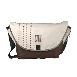 Simply Retro Dots of Brown Monogrammed Courier Bag