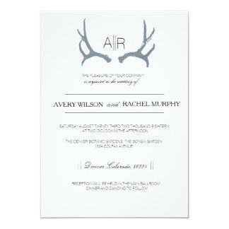 "Simply Rustic & Elegant | Modern Custom Initials 5"" X 7"" Invitation Card"